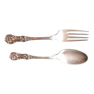 Antique Tiffany English King Sterling Silver Salad Serving Set - Set of 2 For Sale