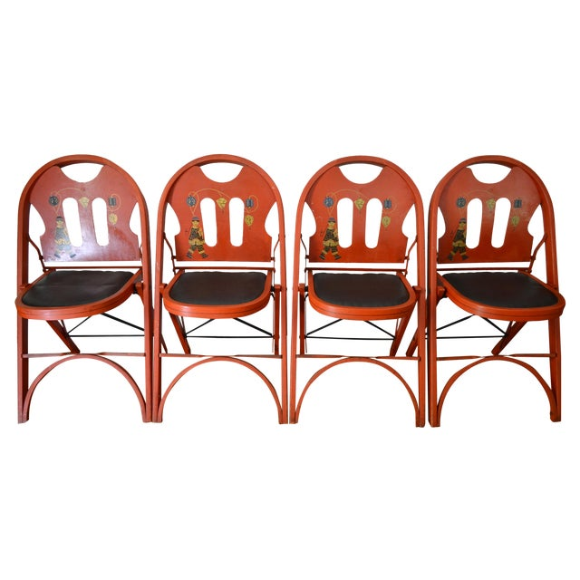 Louis Rastetter Red Folding Chairs- Set of 4 - Image 1 of 7