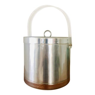 1970s Georges Briard Modern Lucite and Silver Ice Bucket For Sale