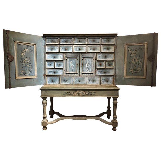 17th Century Blue Hand Painted Swiss Baroque Multi-Drawer Cabinet For Sale