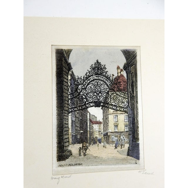 Illustration Continental Etching Prints on Silk - a Pair For Sale - Image 3 of 4