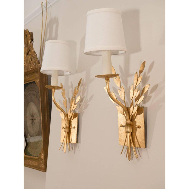 Gilt Metal Sconces For Sale - Image 9 of 10