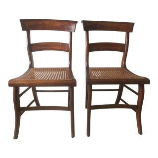 Antique Regency Caned Side Chairs-A Pair For Sale