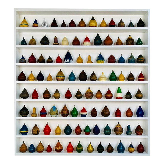 Antique Spinning Tops in a Custom Shadow Box Frame - Set of 100 - Image 1 of 10