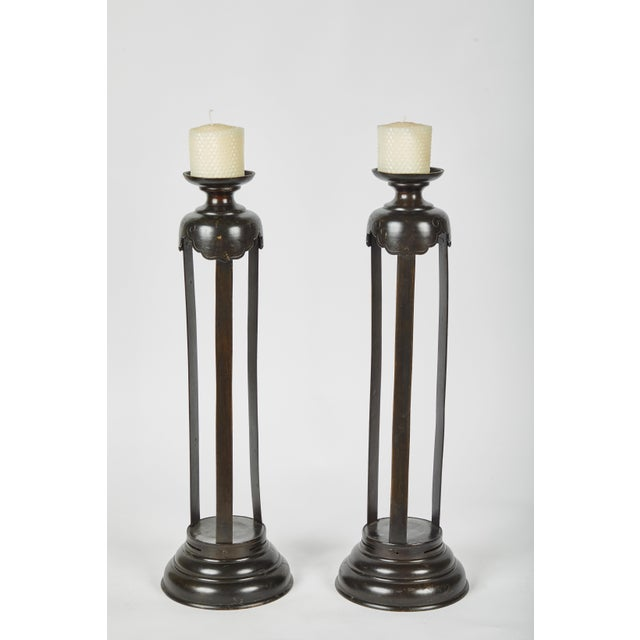 1860's Japanese Edo Bronze Candlesticks - a Pair For Sale In Los Angeles - Image 6 of 7