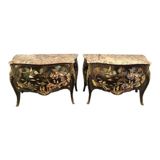 Ebony Bombe Chests Commodes Chinoiserie Louis XV Style Marble Top - a Pair For Sale