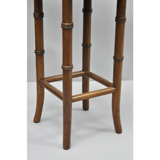 Asian Vintage Chinese Chippendale Style Mahogany Faux Bamboo Counter Bar Stool For Sale - Image 3 of 11