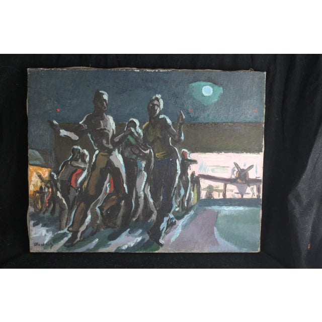 Frederick oil on canvas of figures dancing at an airport at nightfall.
