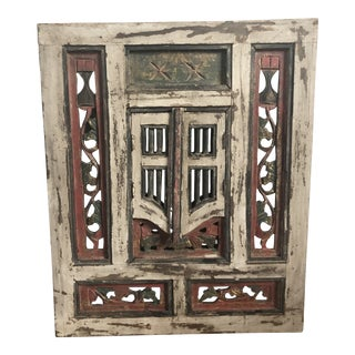 Indonesia Carved Balinese Mirror With Doors For Sale