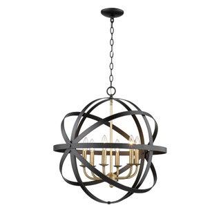 The Orbit 6 Light Chandelier, Matte Black and Antique Brass Preview