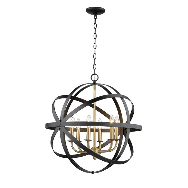 This modern 6-light chandelier pairs contemporary design with a refined sensibility. Takes 60W bulb. 5 feet chain