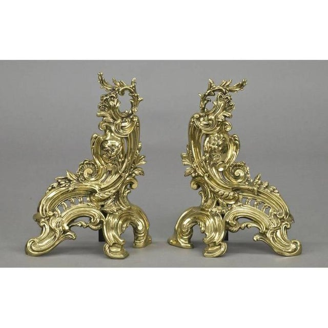 French Antique French Bronze Chenets & Matching Fender - Set of 3 For Sale - Image 3 of 7