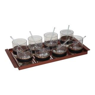 Barware Set Copper Tray, Whiskey Glasses and Drinks Muddler Sticks 1970s - Set of 8 For Sale