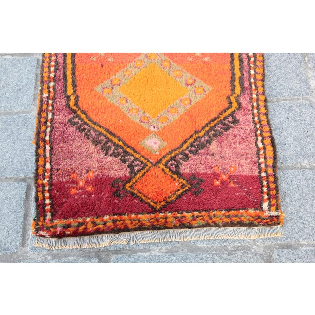Vintage Turkish Orange Tone Wool Carpet - 3' 8'' X 1' 8'' - Image 5 of 11