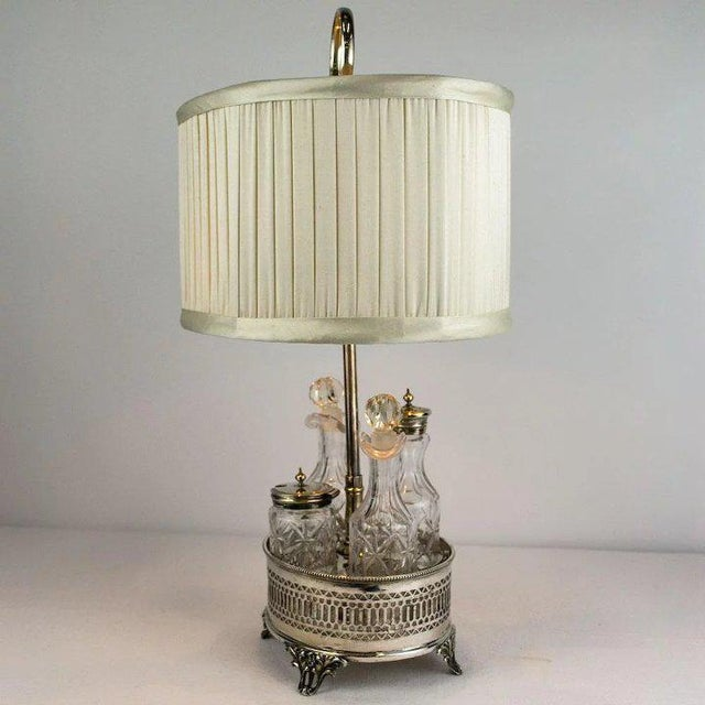 Traditional Sheffield Silver Plate and Cut Crystal Cruet Table Lamp For Sale - Image 3 of 9