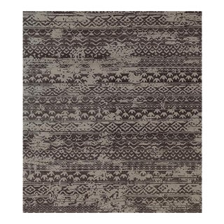 Contemporary Handwoven Brown and Beige Wool Rug - 8x10