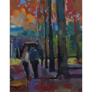 Jose Trujillo Original Expressionist Figures Couple Walking Park Trees Oil Painting For Sale