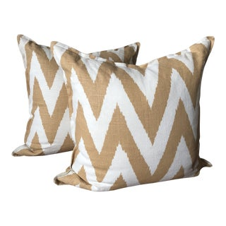 Quadrille Euro Sham Pillows - A Pair For Sale