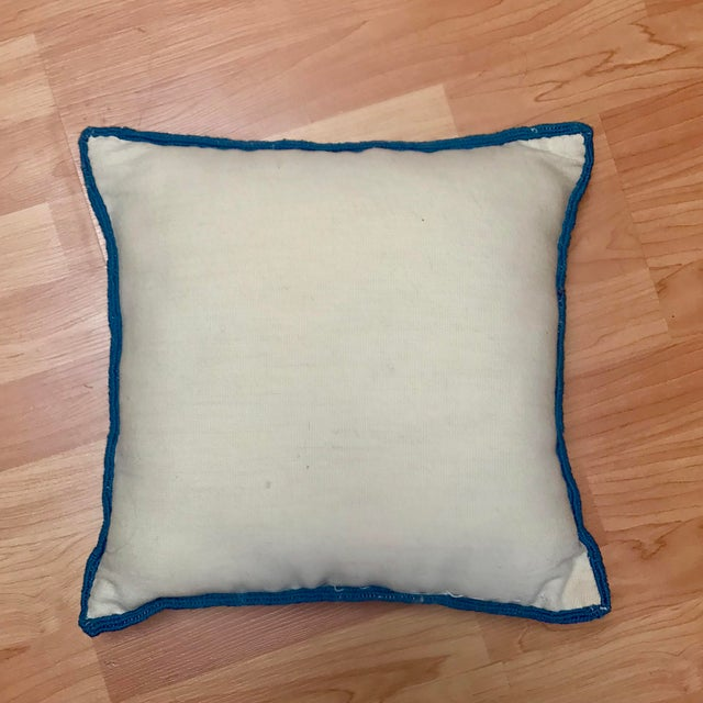 1950s Shabby Chic Handmade Needlepoint Pillow For Sale - Image 10 of 13