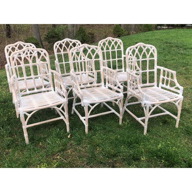 Vintage Chippendale Style Bamboo Dining Chairs - Set of 6 For Sale - Image 9 of 9