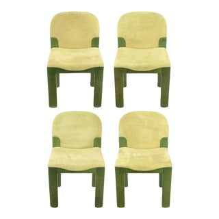 Ernesto Radaelli for Saporiti Dining Chairs in Dyed Green Oak and Suede - Set of 4 For Sale