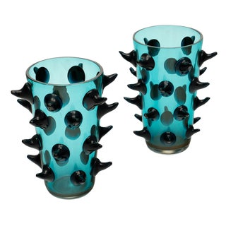 Aqua Murano Glass Vases by Costantini For Sale