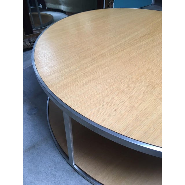 Metal Circular Modern Stainless Steel and Oak Coffee Table For Sale - Image 7 of 11