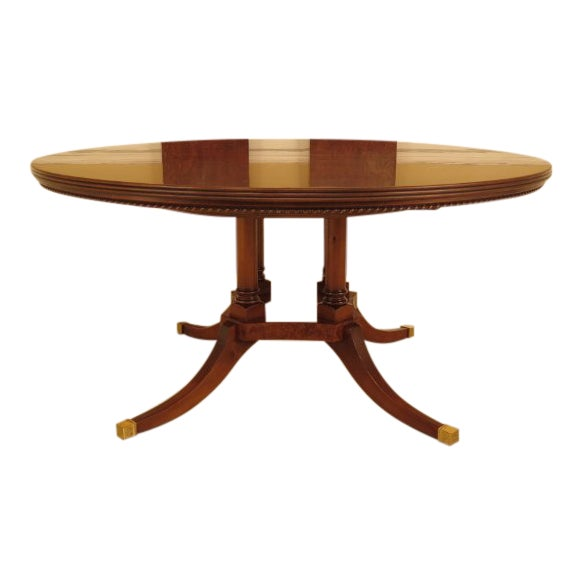 Burl Walnut Round Dining Room Extension Table For Sale