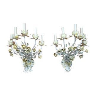Vintage Italian Tole Ware White and Yellow Floral Sconce - a Pair For Sale