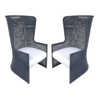 "Rattan High-Back ""Wing"" Chairs With Newly Upholstered Seat Cushions & Pillows - a Pair For Sale"