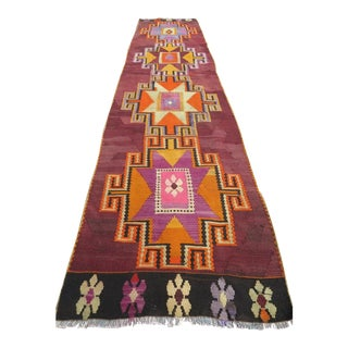 "Vintage Turkish Kilim Runner-2'4'x10'4"" For Sale"