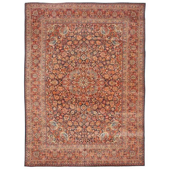 """Extremely fine antique Kashan carpet, """"Contact Dealer"""" button. Excellent condition."""