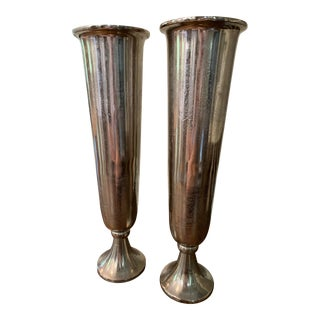 Italian Metal Vases - a Pair For Sale