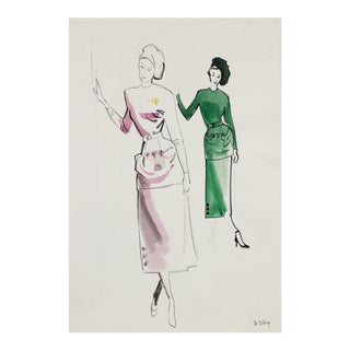 Mid Century Fashion Illustration in Gouache, Circa 1950 For Sale