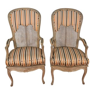 1940s Vintage French Louis XV Mahogany Hand Painted Armchairs- A Pair For Sale