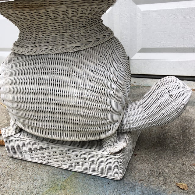 Palm Beach Style Wicker Turtle Floor Lamp with Small Table and Matching Shade For Sale - Image 4 of 6
