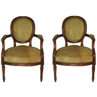 "Vintage French ""Cabriolet"" Armchairs - A Pair For Sale"