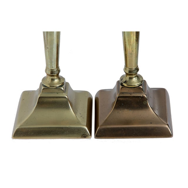 18th Century English Neo-Classical Brass Candlesticks - a Pair For Sale - Image 4 of 6