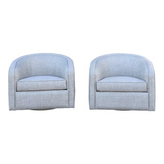 Vintage Mid Century Swivel Barrel Chairs- Pair For Sale