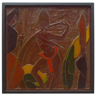Africana Tribal Relief Panel Art Signed Jan De Swart For Sale
