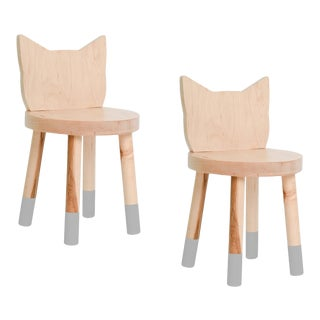 Nico & Yeye Kitty Kids Chair Solid Maple and Maple Veneers Gray - Set of 2 For Sale