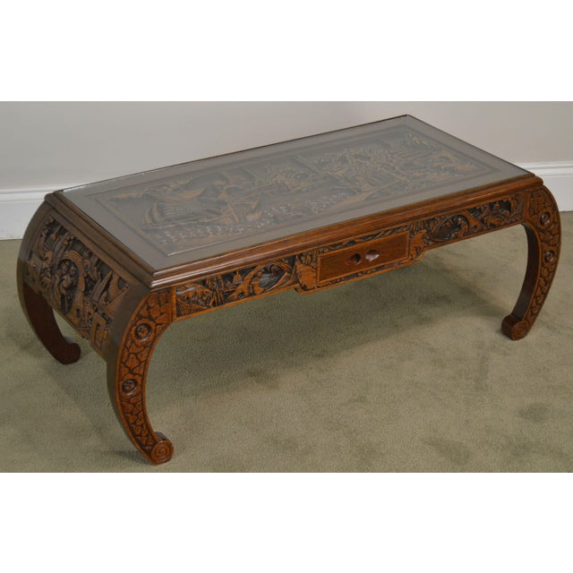 High Quality Hand Carved Solid Wood Coffee Table with Inset Glass Top and Drawer