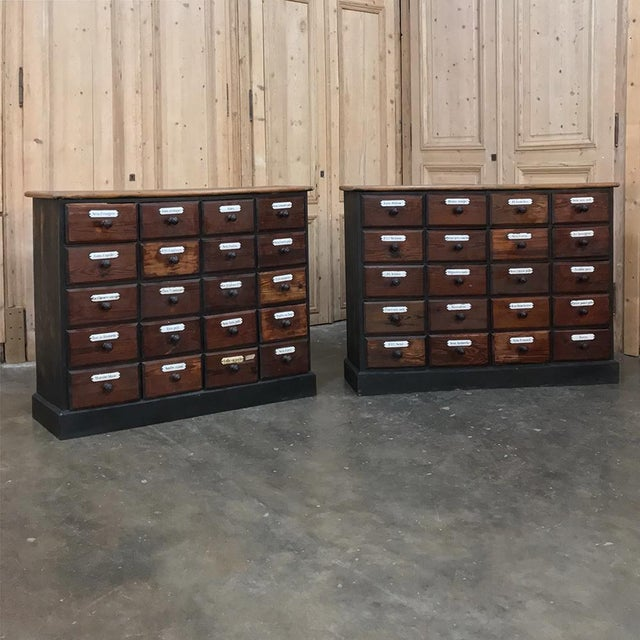 Pair 19th Century French Belgian Pharmacy Cabinets are perfect for adding an eclectic touch to your office, study or game...