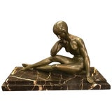 Image of Signed French Art Deco Bronze Sculpture of Nude Seated Female For Sale
