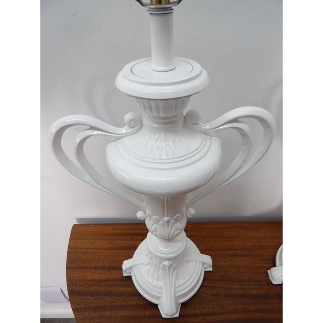 1980s Vintage Handled Metal Urn Lamps in New White Lacquer - a Pair For Sale - Image 4 of 7