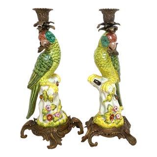 French Porcelain & Ormolu Parrots Candlesticks - a Pair For Sale