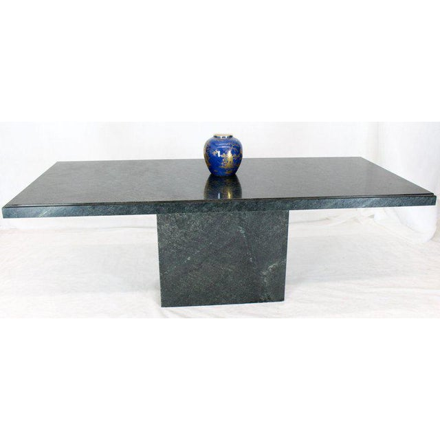 Rectangular Single Marble Pedestal and Top Dining Conference Table Deep Green For Sale In New York - Image 6 of 13