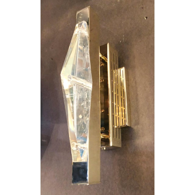 Limited edition Italian wall light or flush mount with clear faceted crystal on gold-plated finish / Designed by Fabio...