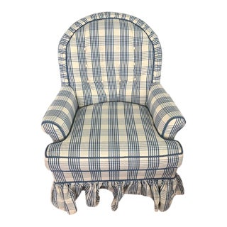 Traditional Century Furniture Blue and Cream Upholstered Chair For Sale