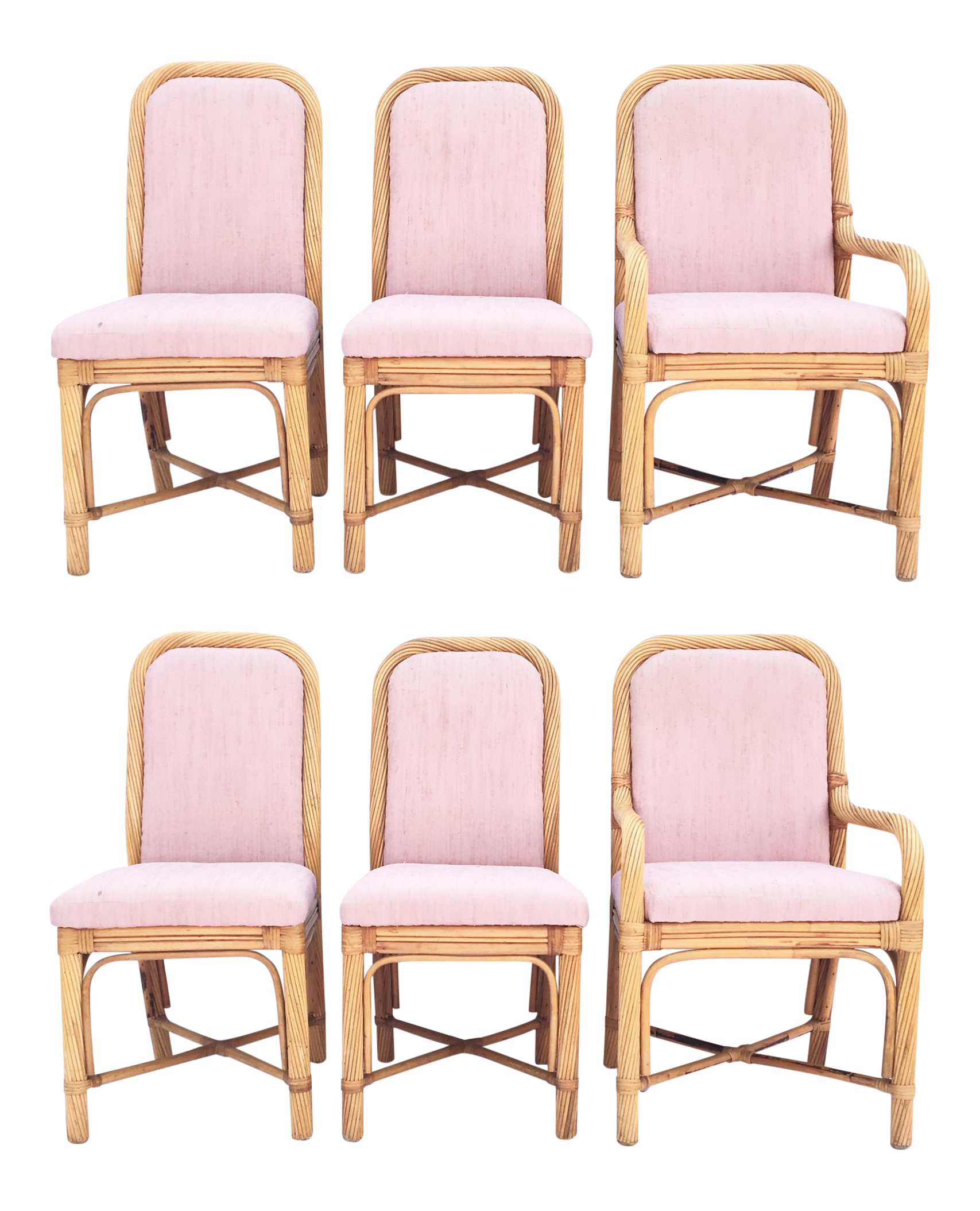 Twisted Rattan Bent Wood Pencil Reed Dining Chairs - Set of 6  sc 1 st  Chairish & 7-Piece American Drew Pencil Rattan Dining Set | Chairish